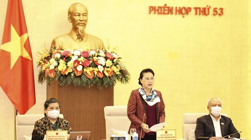 Chủ tịch Quốc hội Nguyễn Thị Kim Ngân phát biểu tại phiên họp sáng 23/2 - Ảnh: VGP