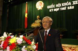 Chủ tịch Quốc hội Nguyễn Phú Trọng đọc diễn văn bế mạc kỳ họp thứ sáu - Ảnh: TTXVN.