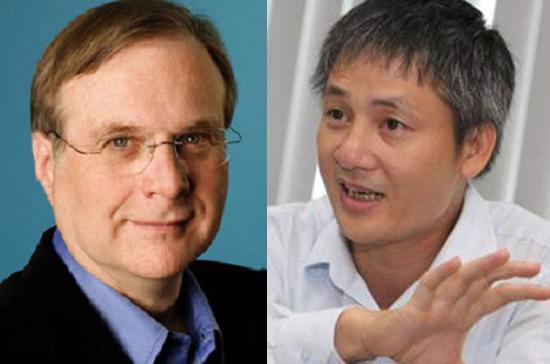 Trái: Paul Allen, đồng sáng lập Microsoft; Phải: Ông Cao Văn Liết, Tổng giám đốc VSTV - đơn vị sở hữu K+.