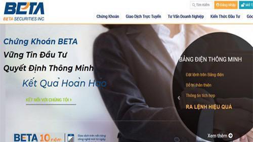 Trang web của Công ty cổ phần chứng khoán Beta (Tp.HCM).