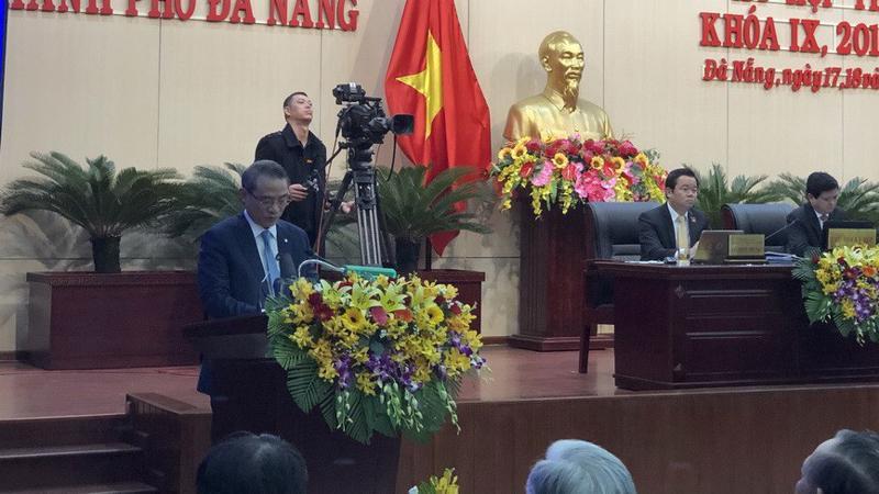 Bí thư Thành uỷ Đà Nẵng Trương Quang Nghĩa phát biểu tại phiên khai mạc kỳ họp thứ 9 của Hội đồng nhân dân thành phố .