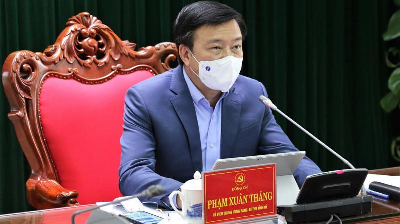 Bí thư Tỉnh ủy Hải Dương Phạm Xuân Thăng chủ trì phiên họp ngày 22/2. Ảnh - Bộ Y tế cung cấp.