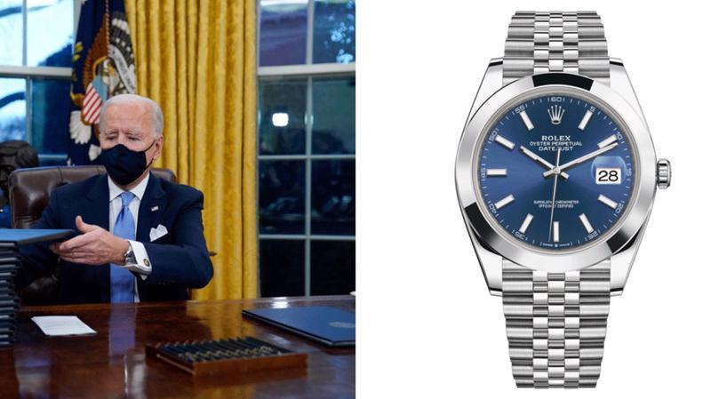 Tổng thống Mỹ Joe Biden đeo chiếc Rolex Datejust khi ký các sắc lệnh đầu tiên khi trở thành tổng thống thứ 46 của Mỹ - Ảnh: AP