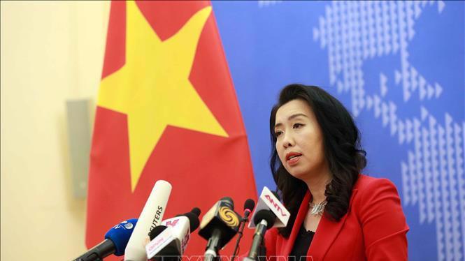 Người phát ngôn Bộ Ngoại Giao Lê Thị Thu Hằng trong họp báo chiều 21/11 - Ảnh: TTXVN.