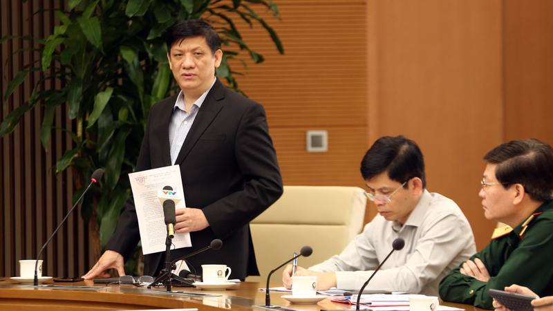 Bộ trưởng Bộ Y tế Nguyễn Thanh Long phát biểu tại cuộc họp. Ảnh - VGP/ Đình Nam.