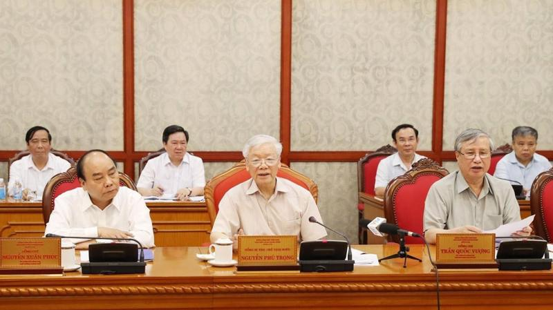 Tổng bí thư, Chủ tịch nước Nguyễn Phú Trọng chủ trì họp Bộ Chính trị ngày 5/7 - Ảnh: TTXVN.