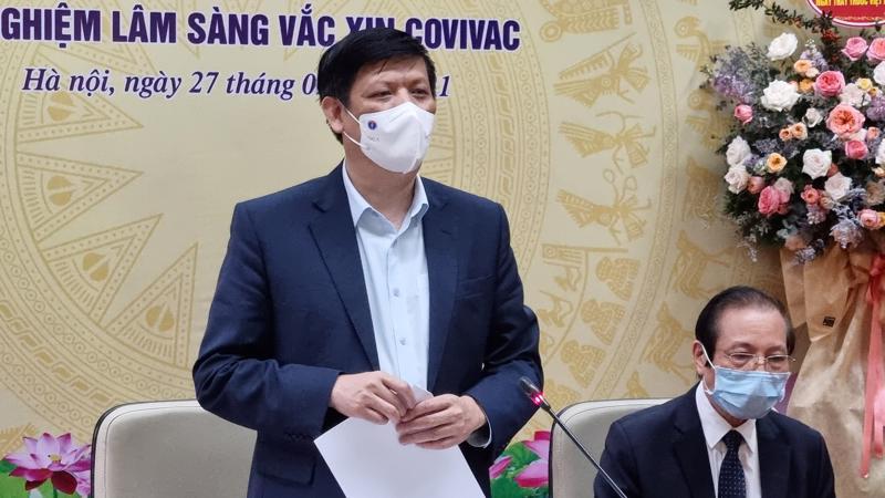 Bộ trưởng Bộ Y tế Nguyễn Thanh Long cho biết kết quả đánh giá tiền lâm sàng vaccine Covivac hiện nay là khá tốt. Ảnh - Tuấn Dũng.