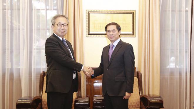 Thứ trưởng Bộ Ngoại giao Bùi Thanh Sơn và Đại sứ Nhật Bản Yamada Takio tại cuộc gặp chiều 29/10 - Ảnh: BNG