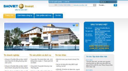 Trang web của Công ty Cổ phần đầu tư Bảo Việt (BVI).