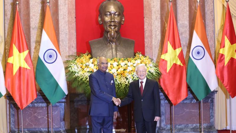 Tổng bí thư, Chủ tịch nước Nguyễn Phú Trọng tiếp đón Tổng thống Ấn Độ Ram Nath Kovind.