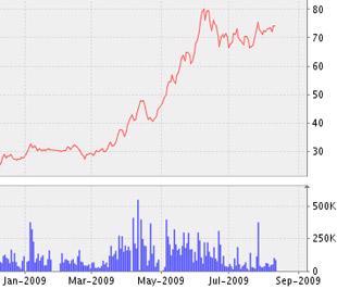 Biểu đồ diễn biến giá cổ phiếu TDH từ đầu năm tới nay - Nguồn: VNDS.