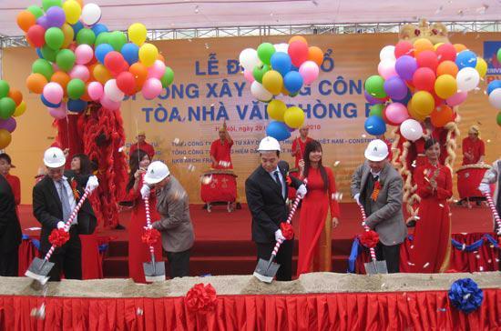 Lãnh đạo PVI và Constrexim Holdings động thổ dự án.