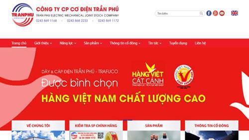 Trang web của Công ty cổ phần Cơ điện Trần Phú.