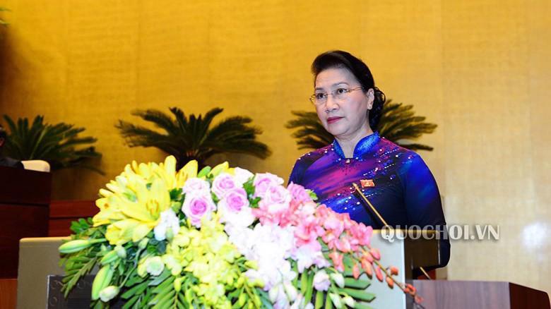 Chủ tịch Quốc hội phát biểu bế mạc kỳ họp.