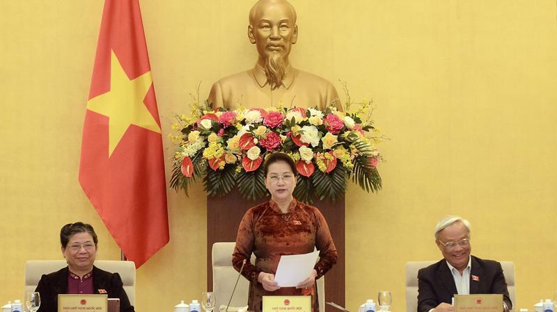 Chủ tịch Quốc hội Nguyễn Thị Kim Ngân phát biểu khai mạc phiên họp thứ 50 của Ủy ban Thường vụ Quốc hội - Ảnh: Quochoi.vn