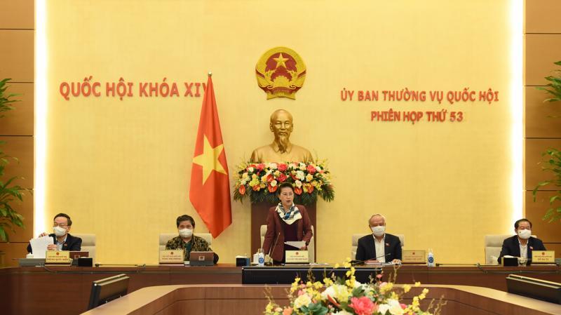 Chủ tịch Quốc hội phát biểu tại Phiên thảo luận sáng 23/2 - Ảnh: VGP