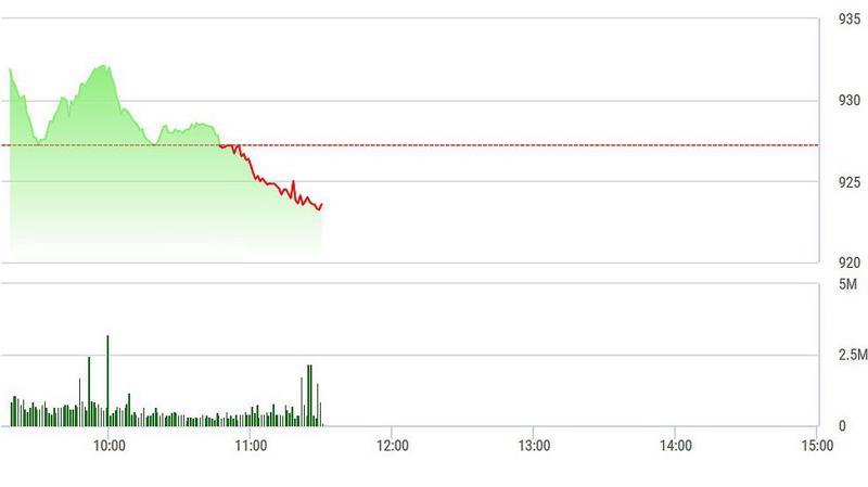VN-Index đã tụt gần 1% từ đỉnh đầu phiên.