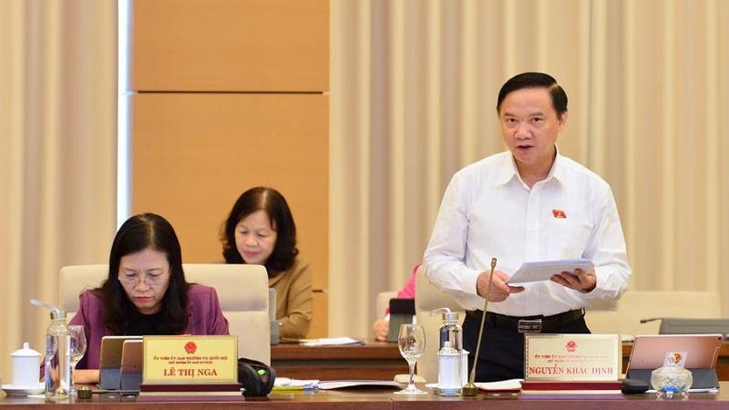Chủ nhiệm Uỷ ban Pháp luật Nguyễn Khắc Định nêu quan điểm của cơ quan thẩm tra - Ảnh: QP