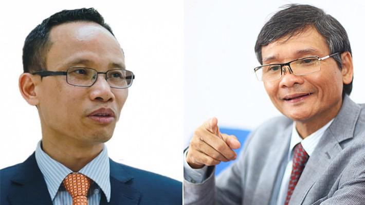 Chuyên gia tài chính Cấn Văn Lực (trái) và ông Trương Văn Phước, quyền Chủ tịch Ủy ban Giám sát tài chính Quốc gia.