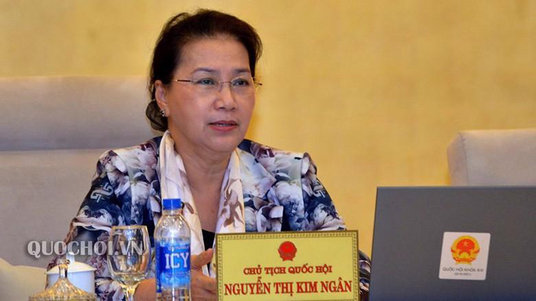 Chủ tịch Quốc hội Nguyễn Thị Kim Ngân phát biểu tại phiên thảo luận.