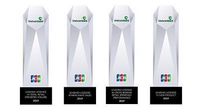 Các giải thưởng JCB trao tặng cho Vietcombank trong năm 2019.
