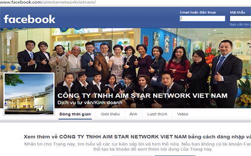 Trang Facebook được cho là củaCông ty TNHH Aim Star Network Việt Nam.