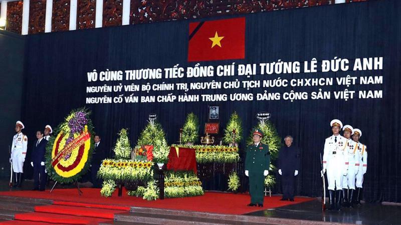 Lễ viếng và truy điệu Đại tướng Lê Đức Anh đã được tổ chức trọng thể tại Nhà tang lễ Quốc gia số 5 Trần Thánh Tông, Hà Nội theo nghi thức Quốc tang.