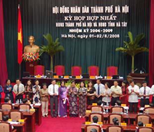 Các cơ quan hành chính của thành phố Hà Nội ra mắt Hội đồng Nhân dân.