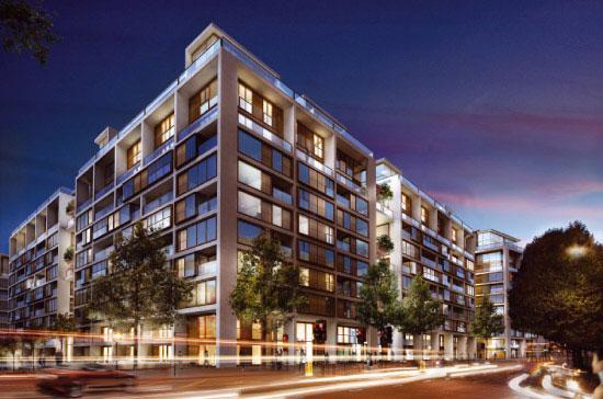 Một góc bản thiết kế khu căn hộ cao cấp 375 Kensington High Street tại London.