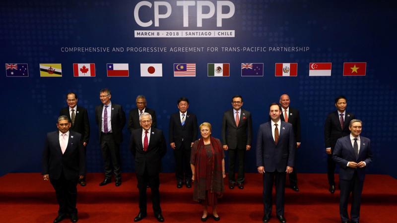 Các nước thành viên CPTPP tại lễ ký kết hiệp định ngày 8/3 tại Santiago, Chile. Ảnh: Reuters.