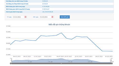 Sơ đồ giá cổ phiếu DIG từ đầu năm đến nay.