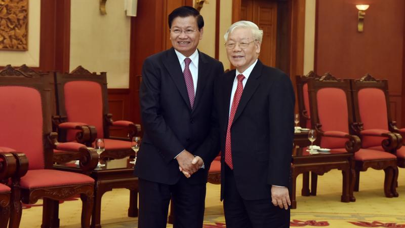 Tổng Bí thư, Chủ tịch nước Nguyễn Phú Trọng tiếp ông Thongloun Sisoulith - với tư cách Thủ tướng Lào sang thăm hữu nghị chính thức Việt Nam vào tháng 10/2019 - Ảnh: VGP