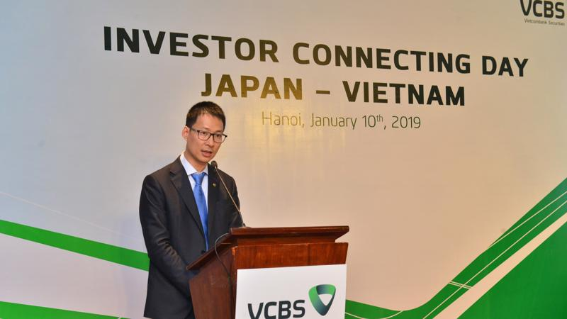 Ông Lê Mạnh Hùng - Giám đốc VCBS phát biểu tại buổi hội thảo kết nối nhà đầu tư Nhật Bản tại Việt Nam.