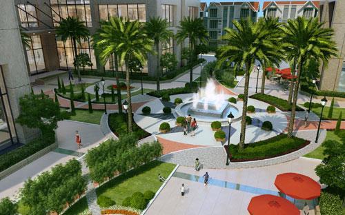 Tiểu cảnh bên trong dự án Hoa Binh Green City.<br>