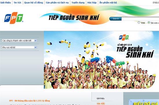 Giao diện trang chủ www.fpt.com.vn với logo và khẩu hiệu mới.