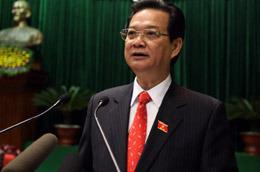 Thủ tướng trả lời chất vấn trực tiếp tại Quốc hội sáng nay - Ảnh: Lưu Quang Phổ.