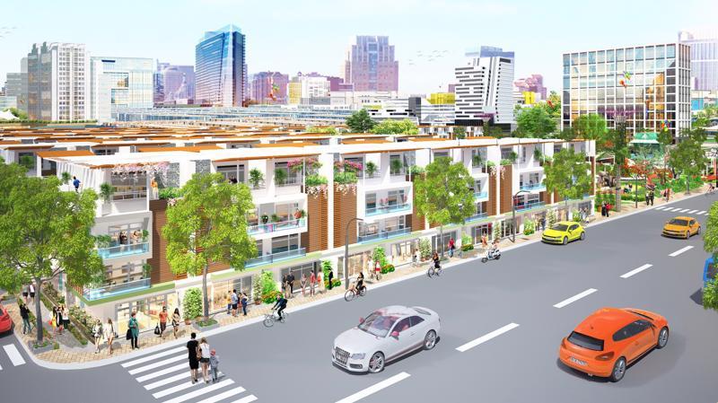 Phối cảnh một dãy phố thương mại sầm uất nằm trong dự án Eco Town Long Thành.