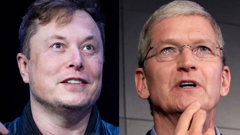 Elon Musk (trái) và Tim Cook - Ảnh: Getty Images/AP