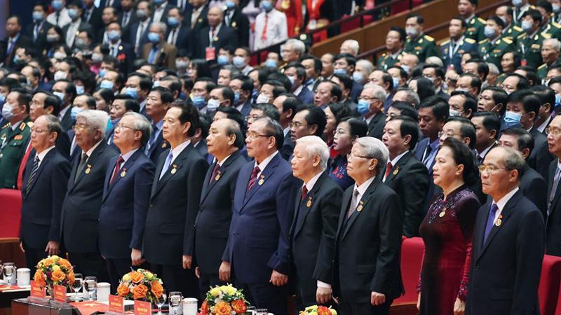 Lãnh đạo, nguyên lãnh đạo Đảng, Nhà nước tham dự khai mạc Đại hội Thi đua yêu nước toàn quốc - Ảnh: TTXVN