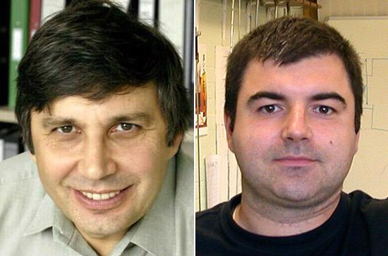 Từ trái qua: Andre Geim, Konstantin Novoselov - Ảnh: Nobel.