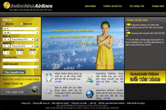 Website của Indochina Airlines.