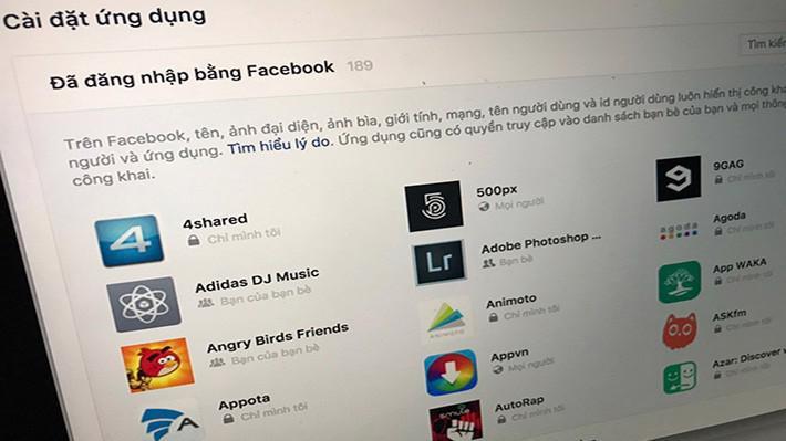 Nhiều ứng dụng yêu cầu cấp quyền nhiều thông tin của người dùng, các hacker lợi dụng những lỗ hổng từ Facebook để chiếm những quyền trên.