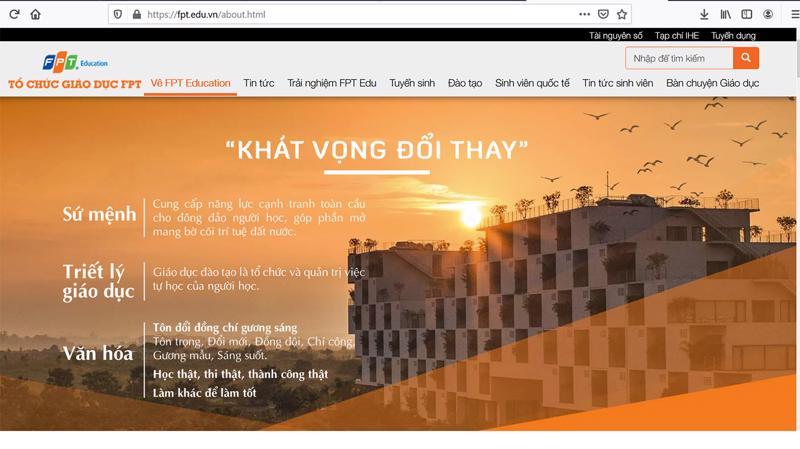 Trang web của FPT Education.