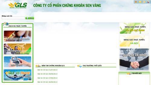 Trang web của Công ty cổ phần chứng khoán Sen Vàng (GLS).
