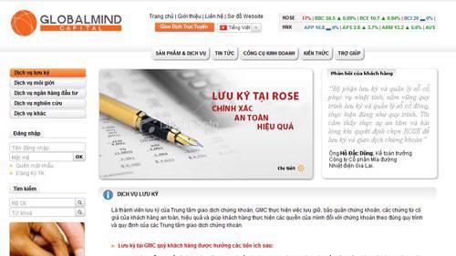 Trang web của Công ty cổ phần chứng khoán Globalmind Capital.