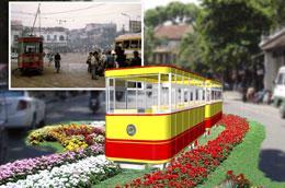 Tàu điện Hà Nội với một số toa xe sẽ được phục dựng lại bằng hoa tại lễ hội lần này.