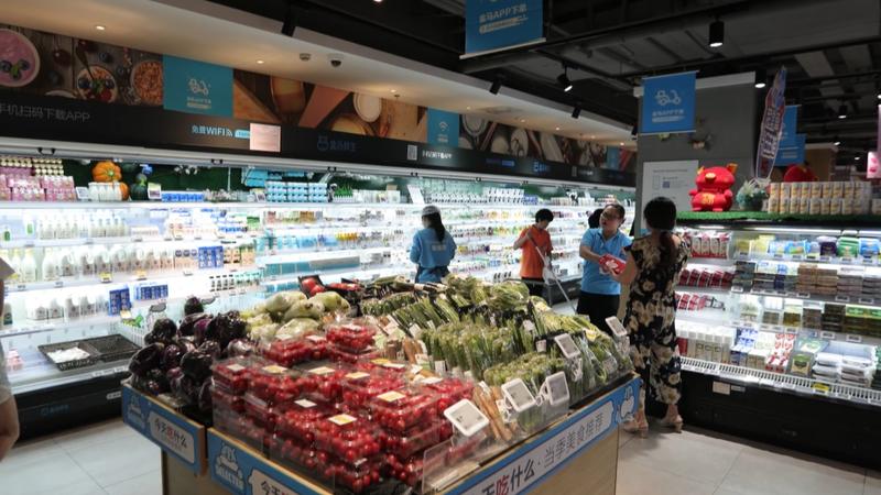 Bên trong một siêu thị thông minh Hema tại tỉnh Hồ Nam, nơi sản phẩm Vinamilk đã có mặt từ tháng 9/2018.