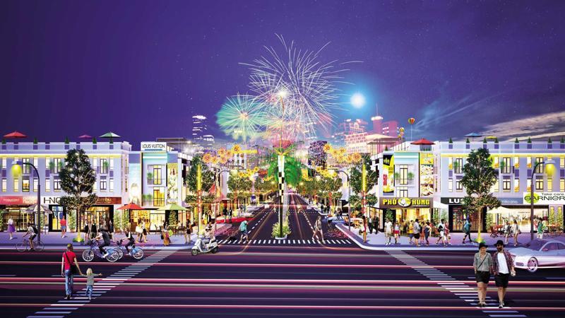 Dự án có quy mô 22,75 ha, bao gồm hơn 1.300 nền nhà phố thương mại với thiết kế kết hợp nhu cầu ở và kinh doanh theo xu hướng hiện đại.