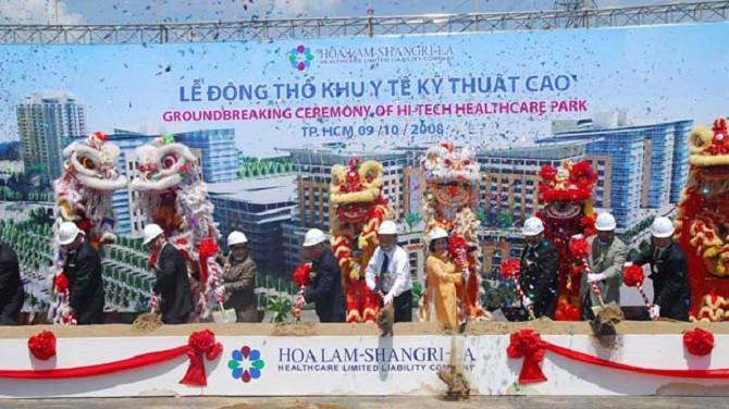 Lễ động thổ Khu Y Tế Kỹ Thuật Cao, tại Quận Bình Tân được tiến hành vào ngày 9/10/2008.