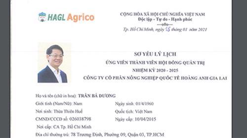 Sơ yếu lý lịch của ông Trần Bá Dương - Chủ tịch THACO - ứng cử vị trí thành viên Hội đồng quản trị HAGL Agrico.